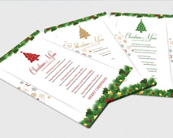 Christmas menu etsy christmas menu template holiday party food menu photoshop ms word template instant pronofoot35fo Images