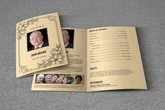 Funeral program template obituary program template for Obituary pamphlet template