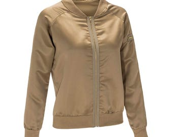Ladies Woman's Gold Bomber Jacket lightweight summer jacket Size 6 8 10 12 14 16