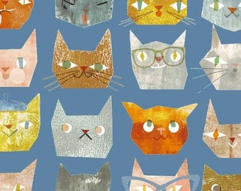 Fat Quarter Smarty Cats Heads Blue By Windham Fabrics, Cat Lover, Animal Lover, Pet Print, Kitty Heads