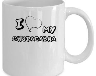 Chupacabras white coffee mug. Funny Chupacabras gift