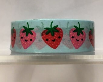 Light blue with strawberries washi tape