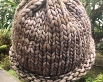 Bulky Woman's Merino Wool Hat in Taupe