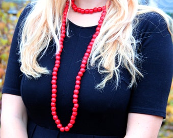 double wrap necklace long beaded necklace red choker Boho necklace vegan gift tribal necklace Wooden necklace Wooden jewelry tribal jewelry