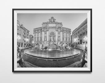 Rome Photography Print, Rome Black And White, Rome Wall Art, Italy Art Print, Trevi Fountain, Travel Photography, Italian Decor, Fontana