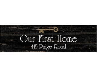 First Home Sign- Personalized Wall Sign- Black First House Sign