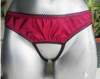 Crimson Valentine Satin Crotchless Knicker