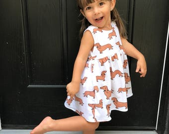 Doxie 'Butters' dress- baby dress, toddler dress, girl dress, doxie dress, dachshund dress,  summer dress, spring dress, dog dress