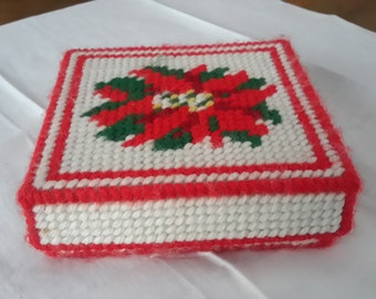 Vintage Plastic Form Knitted Christmas Coaster Set in a box, 6 coasters, Poinsettia, knitted, kitschy, retro, Christmas decor, holiday decor