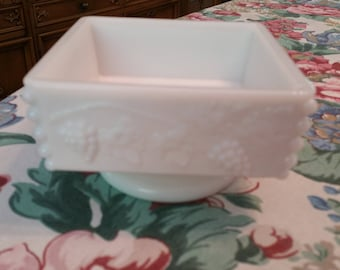 Vintage Westmoreland White Milk Glass Pedestal Square Candy Dish, grape pattern, footed, shabby chic, cottage chic, wedding decor, wedding