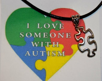 I love Someone with Autism  Pendant Necklace,  Autism Awareness  Necklace,  Autism Speaks Necklace