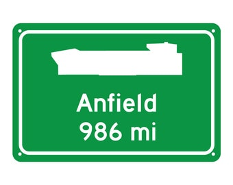 Liverpool - Anfield  Road Sign - Customize the Distance