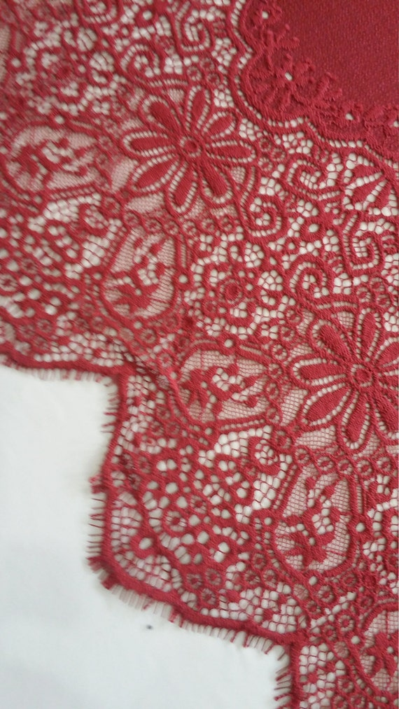 burgundy Lace Fabric,Orange Lace,Orange Chantilly Lace, Alencon lace, Lingerie Lace,Lace Fabric,Lace,Embroidery lace