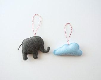 Cloud + Elephant Felt Ornaments (Set of 2)