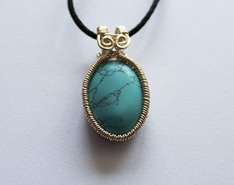 Turquoise Cabochon Wirework Pendant
