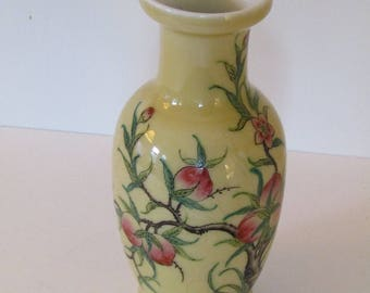 Antique Chinese Porcelain Yellow Ground Peach Vase