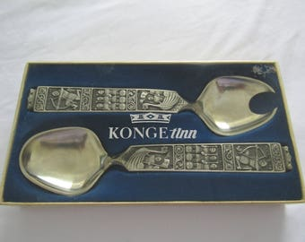 Norwegian Konge Tinn Pewter Salad Serving Utensil Set