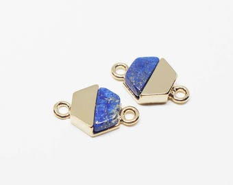 P0292/Anti-Tarnished Gold Plating Over Brass + Lapis Stone/Hexagon Shape Lapis Stone Pendant Connector/12x 8mm/2pcs