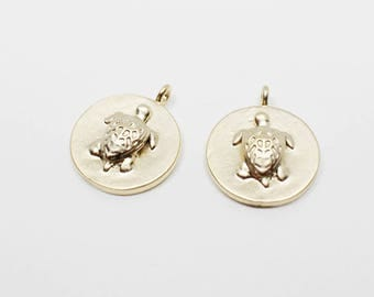 P0606/Anti-Tarnished Matte Gold Plating Over Brass/Embossed Carving Circle Turtle Pendant/12mm/2pcs