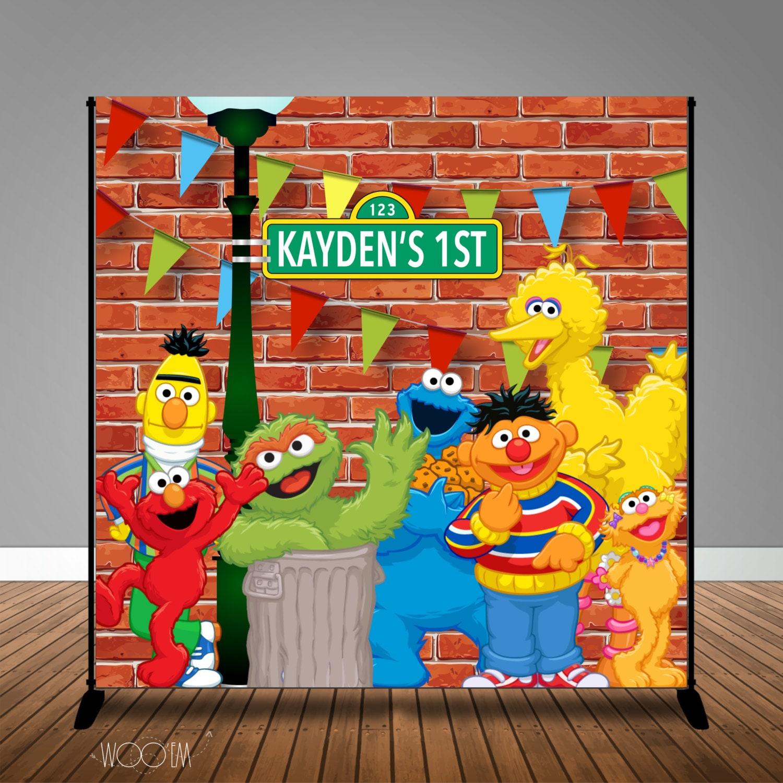 Sesame Street Themed Birthday Banner Backdrop/ Step & Repeat