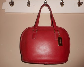 VINTAGE COACH 13 x 9 Red Leather Hand Bag W/Hang Tag H3C-9958 USA