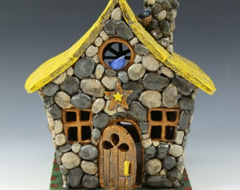 Stone Cottage Luminary // Ceramic Sculpture // Architectural Sculpture // Luminary // House // Clay House// Cottage
