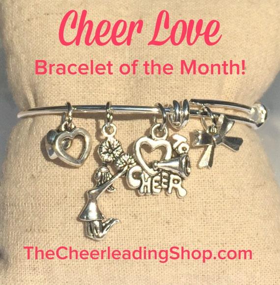 Cheer Love Cheerleading Bracelet of the Month - February, Cheerleading Gift, Cheerleader Jewerly, Cheerleading Award, Cheerleading Jewelry