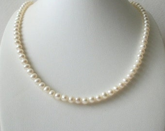 ON SALE Vintage STAUER Signed Tag White Fresh Water Pearls Necklace 10317