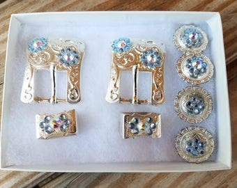 LIGHT Blue/Clear AB Buckle Pair and Conchos