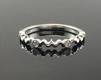 Sterling Silver Dainty Filigree Style and Diamond Wedding Band - .925 Sterling Vintage Inspired Diamond Wedding Ring - Silver Diamond Band