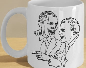 Happy obama biden gift mug - funny cartoon political art coffee cup