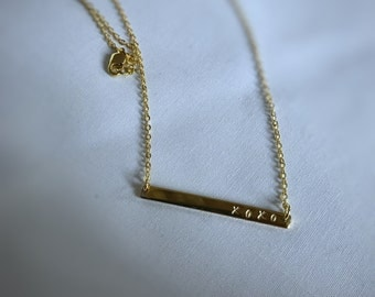 Gold plated skinny bar Necklace