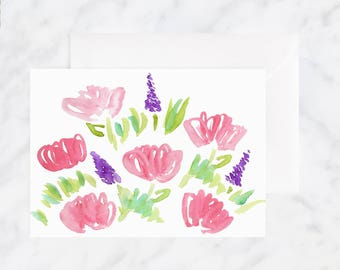 Watercolor Card - Floral Card - Blank Card - Watercolor Flower Card -  Pink Flower Card - Happy Birthday Card - Thinking of You Card
