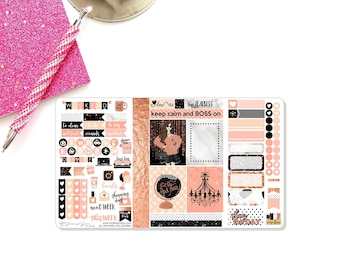 "Pocket Travelers Notebook Stickers, Sticker Insert, Planner Stickers - ""Glam Boss"" / Use in Foxy Fix, Chic Sparrow, Journals by Joey"