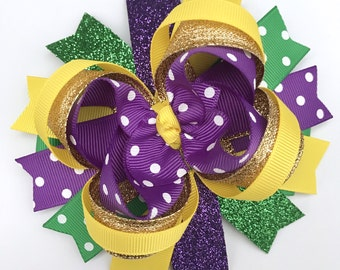 Mardi Gras hair bow-large puple green yellow gold hair bow-large Mardi Gras  bow-over the top mardi gras hair bow-mardi gras-large bow