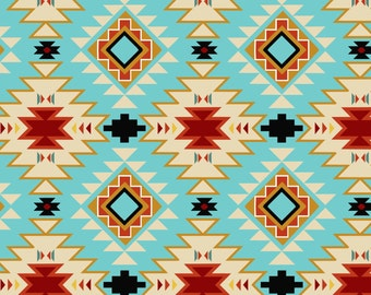 New Arrival Turquoise Native Argyle Cotton Fabric. BTY. David Textile.
