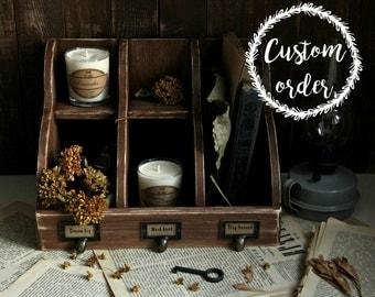 Custom Order! Wooden Table Rack - Dream BIG - Rustic Vintage Retro Style - Storage Organizer Workspace