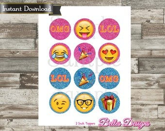 Emoji, Emoji Decor, Cupcake Toppers, Emoji Birthday,Bottle Cap Images, 2 inch, Cirlces, Party Decor, Stickers, Tags *Digital File*, Instant