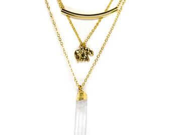 Gold Elephant Crystal Necklace