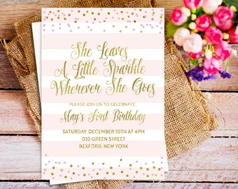 she leaves a little sparkle 1st birthday invitation, confetti gold she leaves a little sparkle birthday invite, confetti gold birthday party