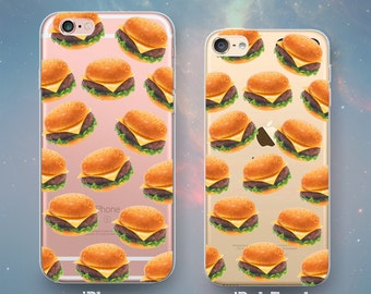 Burgers Pattern Cheeseburgers Hamburgers Clear Rubber Case for iPhone 7 Plus iPhone 7 iPhone 6s 6 Plus iPhone 5s 5 5c iPhone SE iPod Touch