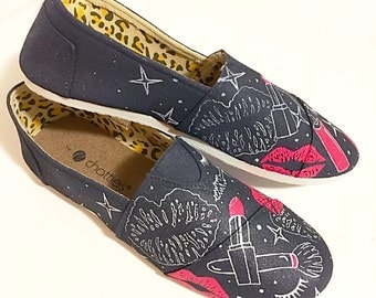 custom beautician/make up/cosmetician/beauty parlor canvas shoes - personalized shoes - adult footwear - hand painted specialty shoes
