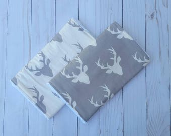 Grey and White Deer Burp Cloths- deer antler baby, woodland baby nursery, burpcloths for boys, baby shower gift, camo baby, hunting buddy