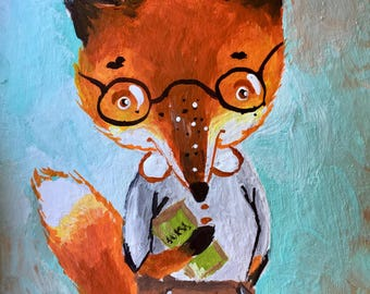 Aceo original acrylic painting fox artist trading card mini art
