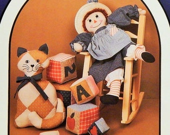 """Molly Doll & Clothing Pattern - 20"""" Stuffed Doll - 12"""" Stuffed Patchwork Cat - Stuffed Blocks - """"Molly's Toys"""" - by Dream Spinners"""