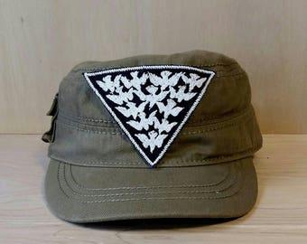 Glow in the Dark Bird Flock Embroidered Vintage Graphic Canvas Jacket Hat Patch