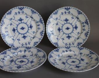 Royal Copenhagen Blue Fluted Full Lace 4 Salad Plates # 619