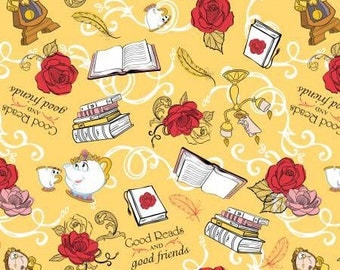 Belle - princess- beauty and  the beast - disney - fabric - sewing -supply notion - bty - 1 yard- material - farm