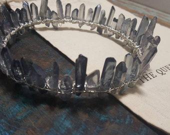 grey aura quartz crystal crown, silver circlet, crystal diadem, boho bridal halo headpiece, crystal moon hair accessories, celestial wedding