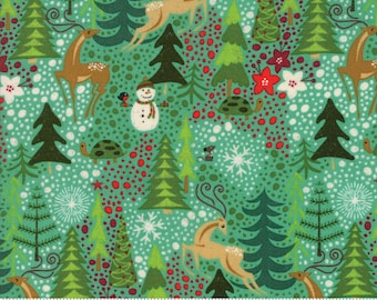 Berry Merry Christmas Reindeer Games Aqua Mint Yardage by Basic Grey for Moda